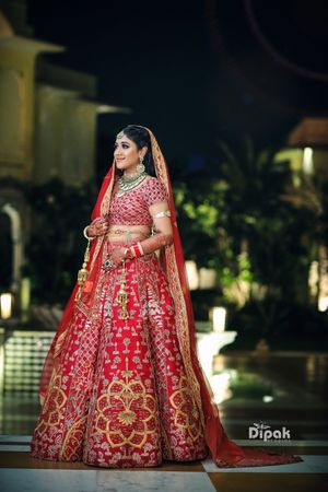 Red bridal lehenga with modern motifs