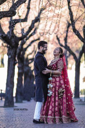 Happy bride shot in benarasi lehenga
