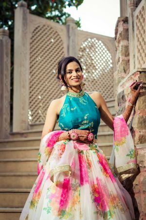 Halter blouse with floral print lehenga