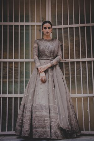 Silver anarkali gown for sangeet