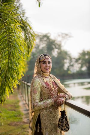 Muslim bridal look in all gold outfit