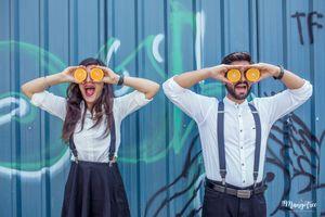 Quirky pre wedding shoot couple photo