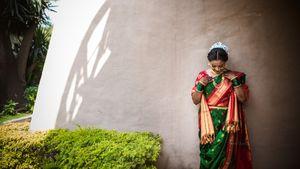 Such a vivid bridal silk saree!