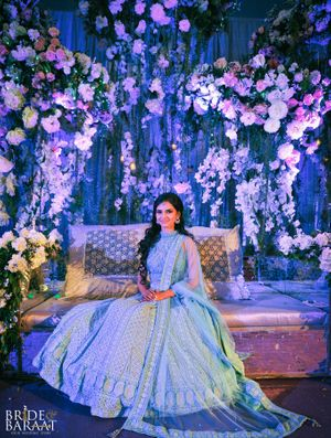 A bride-to-be wearing Light Blue Chikankari Lehenga