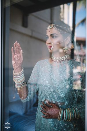 A unique bridal portrait, with a bride wearing an off-beat outfit!