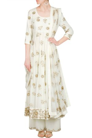 White and gold pallazo with anarkali