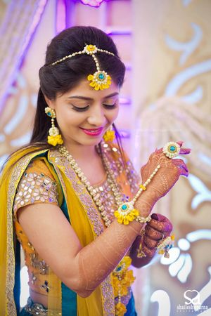 Yellow and Blue Floral Jewellery for Haldi and Mehendi