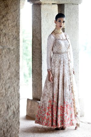 white and silver sparkly anarkali