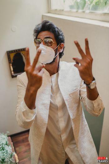 Rana Daggubatti in mask at his mehendi function