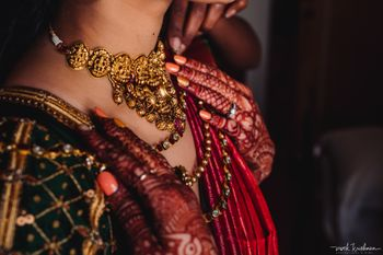 Photo of South indian bridal jewellery with a temple necklace