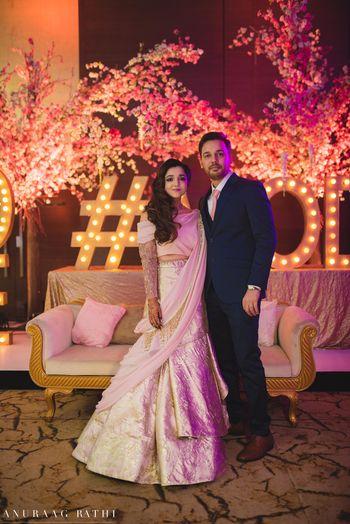 Photo of Light pink gaurav Gupta lehenga gown