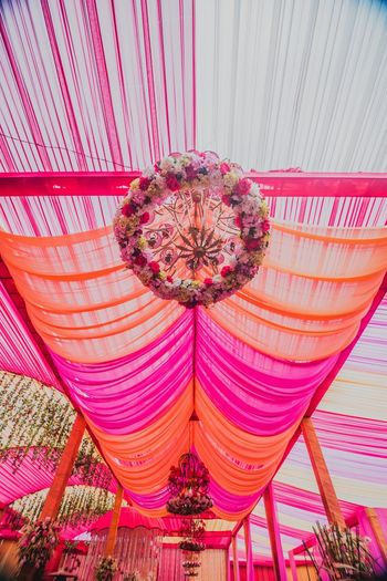 Fuschia and orange wedding decor