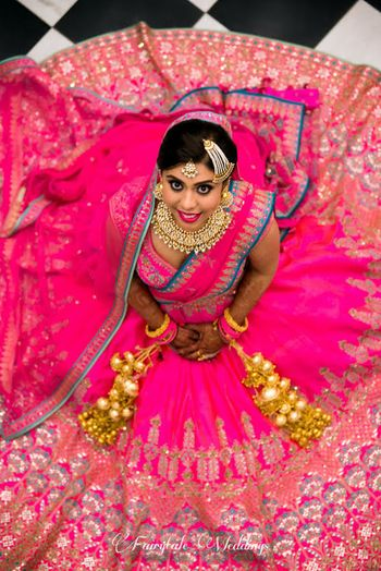 Stunning bridal neon and hot pink lehenga for wedding