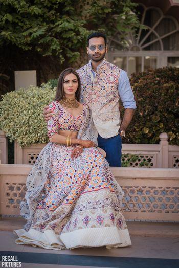 Mehendi bride and groom look twinning