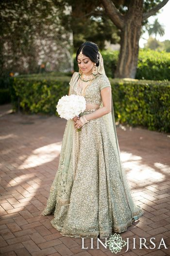 Light green sequin day wedding lehenga