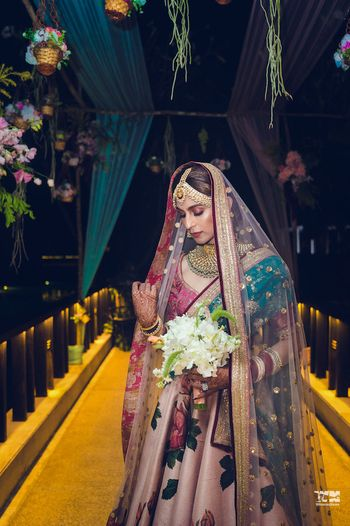 Sabyasachi floral print bridal lehenga
