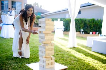 Giant Jenga game bought from eBay for guests to play in garden wedding