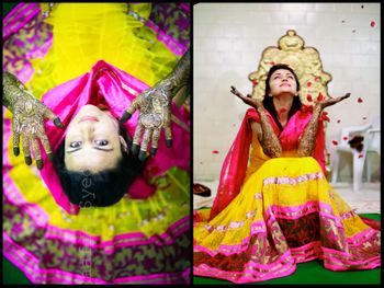pink and yellow mehendi lehenga
