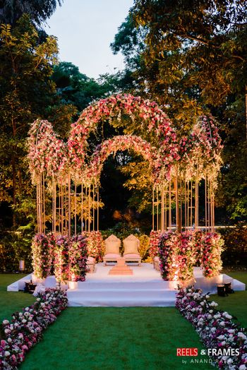 Floral decor mandap idea with open sides and above