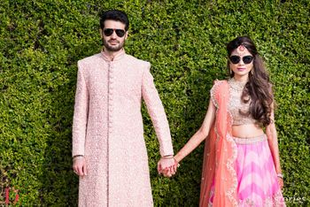 Photo of Leheriya lehenga with sunglasses