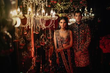 Photo of Twinning matching bride and groom on sangeet