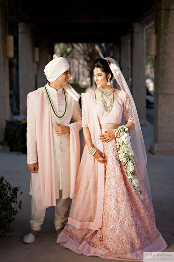 Light pink and groom coordinated