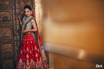 Red Bridal Lehenga Photo Anju modi lehenga