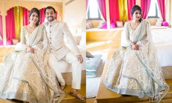 Photo of Lehenga in white and mint sequins