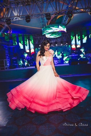 Ombre sangeet lehenga in white and pink