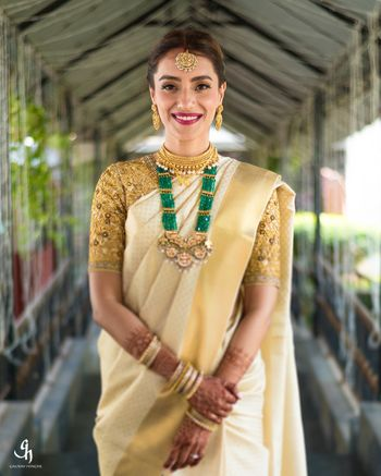 South Indian bridal look with green bead jewellery