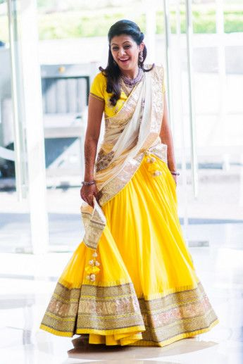 Photo of yellow and white lehenga