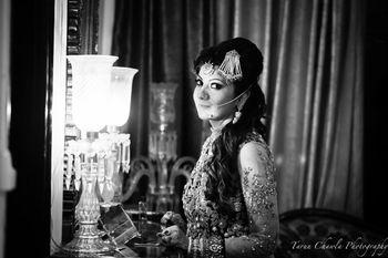 Photo of black and white bridal portraits