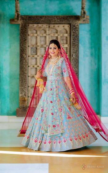 contrasting dupatta with powder blue anarkali