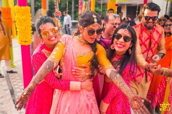 Bride with Bridesmaids on Mehendi with Sunglasses