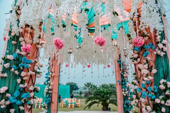 Photo of Quirky floral and paper decor for entrance