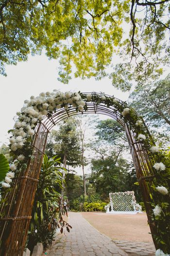 Floral entranceway with white roses