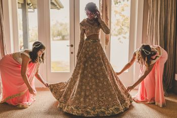 Photo of Bride getting ready with bridesmaids