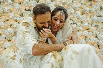 Photo of Fun couple shot on Haldi