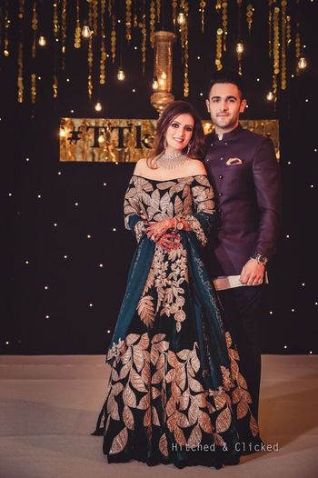 Deep blue sangeet gown