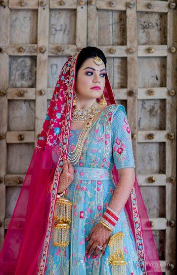 sikh bridal look in offbeat anarkali and kaleere