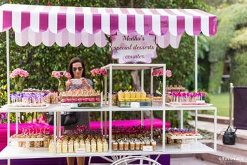 Food counter idea with brides fave desserts