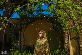 Offbeat bridal lehenga in light green lehenga