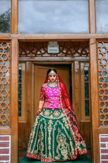 Photo of Muslim bridal look in multicolour lehenga