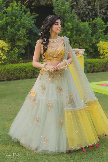 Photo of Mint and yellow pretty engagement lehenga
