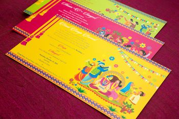 yellow pink and green wedding card