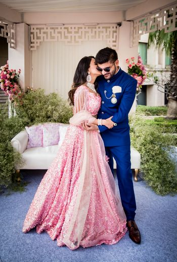 Photo of Engagement couple portrait with pink lehenga