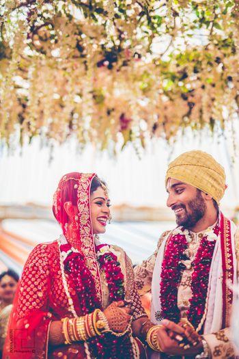 Happy couple shot after jaimala