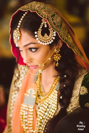 Photo of braid hairstyle on nikah with swarovski crystals in hair