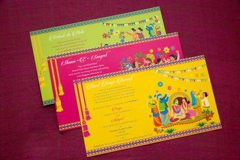 Photo of yellow pink and green wedding card