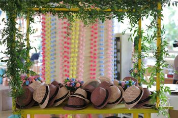 Photo of summer destination wedding ideas with hats as favours